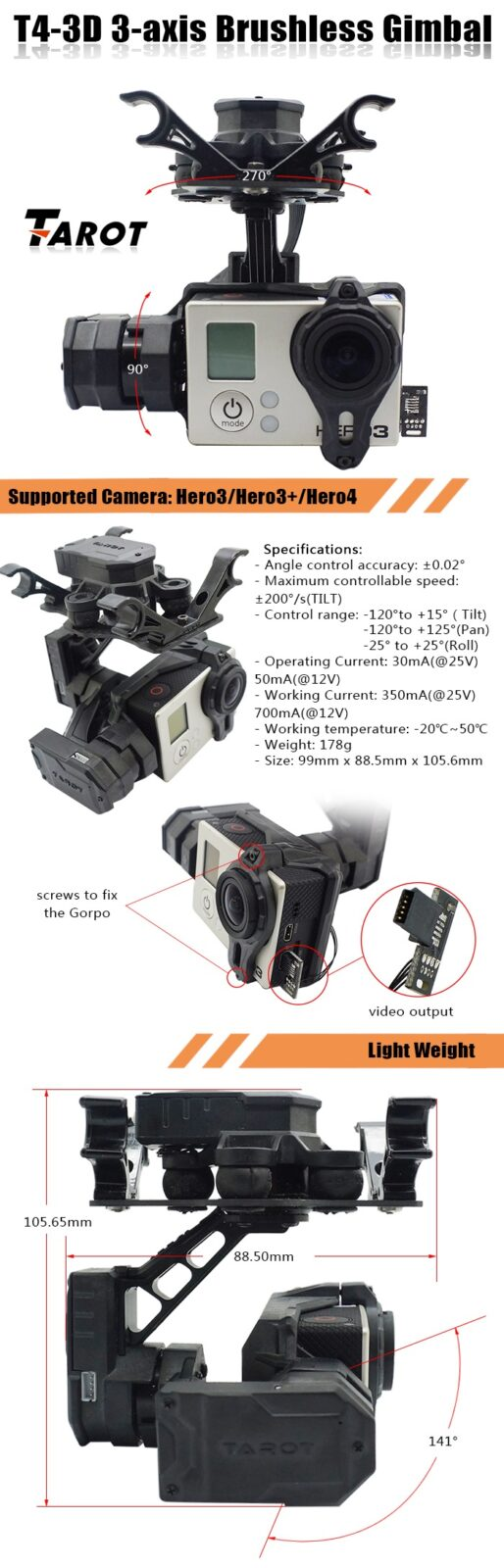 Tarot T4-3D 3-Axis Brushless Gimbal For GoPro Hero 3 and Hero 4